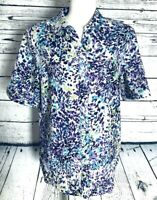Allison Daley Women's Large Blouse Button Down Short Sleeves V Neck Collared