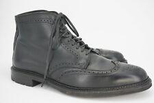 WORN 15x   $613 ALDEN 11.5 D BLACK LEATHER WING TIP BOOT COMMANDO SOLE