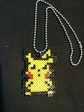 "Pikachu Mini Hama Bead Necklace on 14"" Ball Chain"