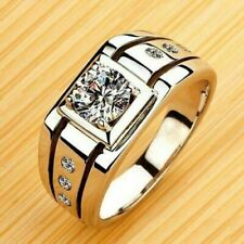 Mens Real 14k White Gold 1.50 Ct Round Cut Diamond Wedding Band Pinky Ring