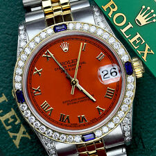 Rolex 31mm Datejust 2 Tone Orange  Roman Numeral Dial Sapphire & Diamond