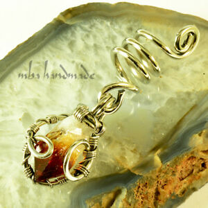 Spiral Silver Wire Citrine Point Viking Hair Beads Beard Dreadlock Jewelry