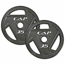 """WEIGHT PLATES TWO 35lb PAIR 2"""" Olympic Grip Home Gym Fitness Exercise Cast Iron"""
