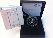 Peter Rabbit 2017 Royal Mint Coloured 50p Silver Proof Coin in a Black Box