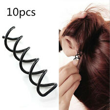 12pcs Spiral Spin Screw Bobby Pin Hair Clip Twist Barrette Black Styling Tool