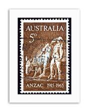 FRANCOBOLLO Australia Simpson Asino Vintage STAMPE SU TELA ART