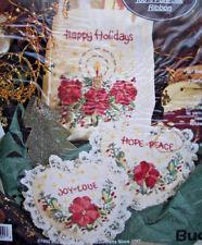 Bucilla Silk ribbon embroidery kit Christmas Holiday Gift bag 2 Sachets B