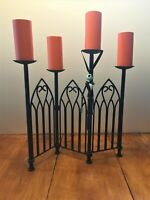 Halloween Cemetery fence / candelabra. Metal with hanging goul. A-23