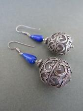 Vintage Art Deco Silver Lapis Lazuli Earrings Filigree