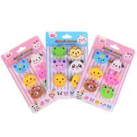 6Pcs/Set Random Cute Animals Rubber Pencil Eraser Novelty Stationery S SE