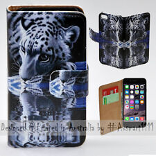 "Wallet Phone Case Flip Cover for iPhone 6 6S 4.7"" - White Tiger Water Reflection"
