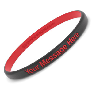 Custom Engraved Silicone Wristbands - Thin Luxe Band - Personalize Your Message