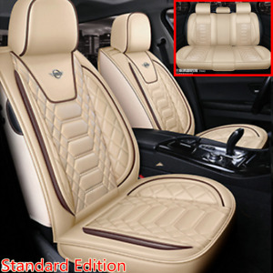 Standard Edition 5-Seats Car Breathable PU Leather Seat Covers Cushion Beige