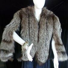 VINTAGE 1950s Silver Brown FOX Fur Coat Convertible Medium-Large