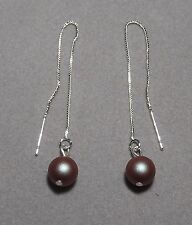 Iridescent RED Pearl on 925 Sterling Silver Box Chain Thread Earrings  (8259)