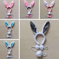 3x /Set Women Bunny Ears Headband Tail Tie Decor Rabbit Hair Accessories Modern