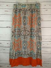 Anthropologie Vanessa Virginia Silk Maxi Skirt Size L Orange Teal Print EUC