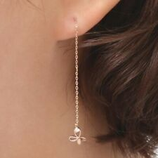TPD 14k Solid Rose Gold Butterfly Long Threader Drop Dangle a Pair of Earrings