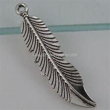 12469 15PCS Vintage Antique Silver Tone Alloy Feather Pendant Charm