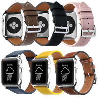 Genuine Leather Watch Band Strap Case for Apple Watch w/ Classic Buckle 38/42mm