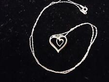 Double Heart Pendant & Necklace Silver Your Path Crossed Mind