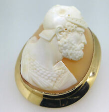 Antique Cameo Brooch 14ct Gold Tested Helmet Shell. Hercules c1900s