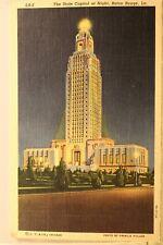 Louisiana LA Baton Rouge State Capitol Night Postcard Old Vintage Card View Post