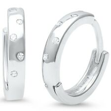 CZ Accent .925 Sterling Silver Hoop Huggie Earrings