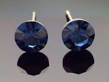 Navy Blue Swarovski Crystal Studs Earring Diamante 6mm Circle Wedding Formal