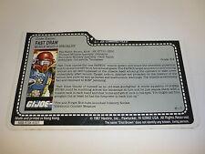 Gi Joe Fast Draw File Card Vintage Action Figure Half Cut / Great Shape 1987