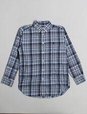 Boy Ralph Lauren Polo Blue Flannel Plaid Dress Button Down L/S Shirt Size 4