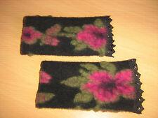Walk-Wolle-Armstulpen -Pulswärmer schwarz-grün-pink mit Spitze  by Zonel