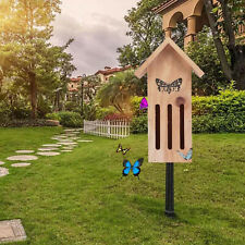 Attractive Natural Wooden Butterfly House Habitat Haven for Bugs Garden Tree