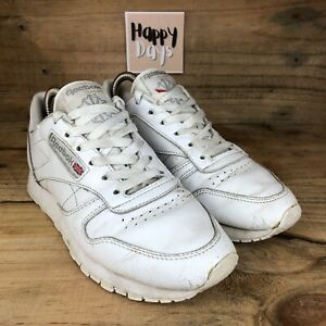 Reebok Classic Leather Women's Triple White Lace Up Trainers Shoes Size UK4.5