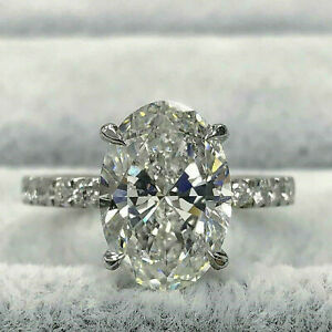 2Ct Oval Cut Moissanite Diamond Solitaire Engagement Ring 14K White Gold Finish