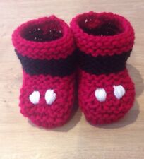 Hand Knitted Baby Mickey Mouse inspirado Botines/Zapatos