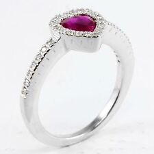 14k White Gold Heart Shape Red Ruby & Round Diamond Halo Ring Band .63 TCW