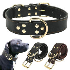 Black Leather Large Dog Collars Plain Dog Collar Neck Buckle for Lage Dogs
