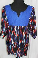 NWT Women's 2X Life Style Multi Color with Royal Blue Lace V Neck Top Blouse