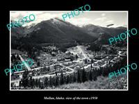 OLD POSTCARD SIZE PHOTO MULLAN IDAHO VIEW OF THE TOWN c1950 1