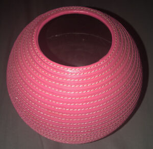 Beautiful Crate And Barrel Round Pink Leather Vase EUC