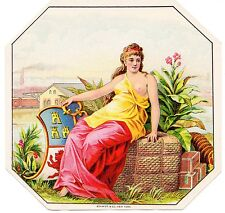 CIGAR LABEL OUTER PARTIAL NUDE C.1900 INDUSTRY GIRL VINTAGE STOCK TRAIN BALES A1