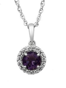 """Genuine Amethyst and White CZ Sterling Silver Cushion-Framed Pendant, 18"""""""