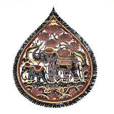 Elephant cow leather carving Hand craft done by hand decorate the house Thailand