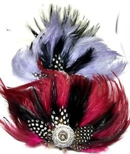 Black  White Red Feather Fascinator Hair Clip Wedding Party Vintage Headpiece