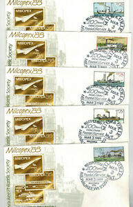 RIVER STEAMBOATS SET OF 5 FDCs Milcopex + Unofficial Milwaukee Pictorial Cancels