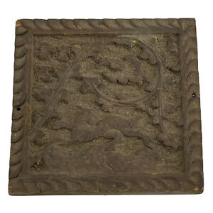 Antique Hand Carved Wood Pediment Plaque Box Top Salvaged Forest Animal