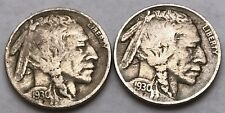 2 PIECE LOT 1930 P AND S Buffalo Nickel Set Nice FINE COINS FREE SHIPPING!