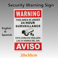 Warning This Area is Under 24 Hour Surveillance Security CCTV Sign w/ Spanish