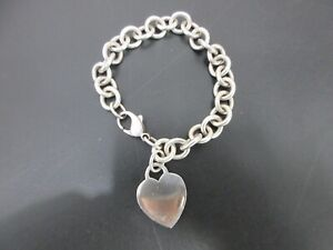 Authentic Tiffany & Co. Heart Tag Bracelet 925 Sterling Silver Good 94993
